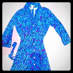CACHE Shirt Dress, Royal Blue,Teal & Purple ,Belt